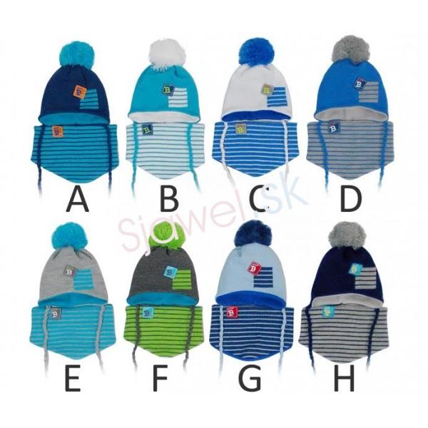 a72d07fa8 Detské čiapky kojenecké chlapčenské + nákrčník - zimné - model - 811