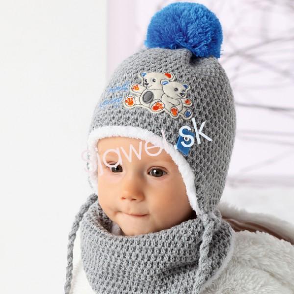 4e0322c82 Detské čiapky zimné kojenecké - chlapčenské s nákrčníkom - model - 857