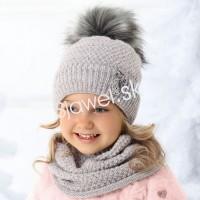 81f6745c3 Detské čiapky zimné dievčenské s tunelom ( nákrčnikom ) - model 1 / 708