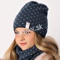 28b2c87d8 Detské čiapky zimné dievčenské s nákrčnikom - model - 751